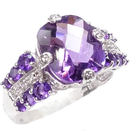 57be942780b4a0 NIAGARA BLASKU Złoty pierścionek z ametystem, diamentami 5,5 ct ...
